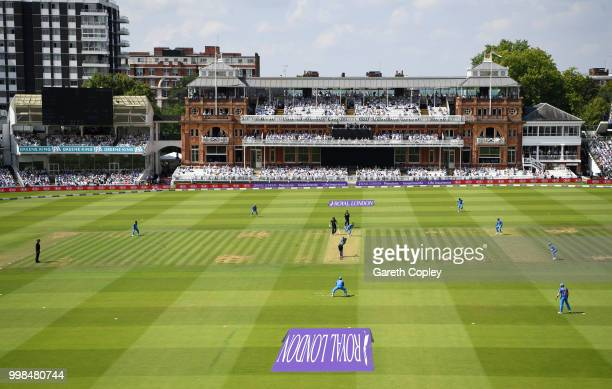 General view of play during the 2nd ODI Royal London OneDay match between England and India at Lord's Cricket Ground on July 14 2018 in London England