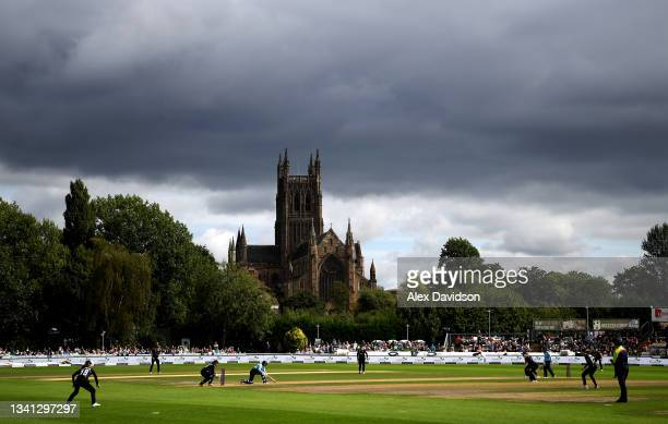 General view of play during the 2nd One Day International match between England and New Zealand at New Road on September 19, 2021 in Worcester,...