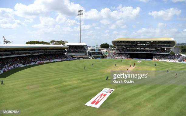 General view of play during the 3rd One Day International between the West Indies and England at Kensington Oval on March 9 2017 in Bridgetown...