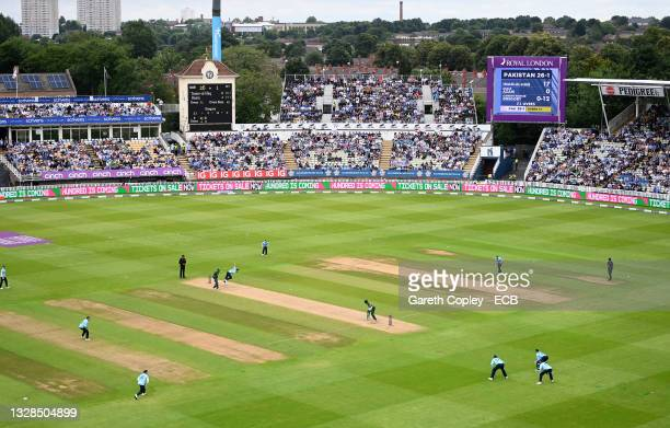 General view of play during the 3rd Royal London Series One Day International between England and Pakistan at Edgbaston on July 13, 2021 in...