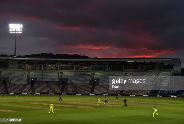 General view of play during the 3rd Vitality International Twenty20 match between England and Australia at The Ageas Bowl on September 08, 2020 in...