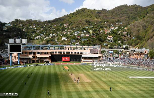 General view of play during the 4th One Day International match between the West Indies and England at Grenada National Stadium on February 27, 2019...
