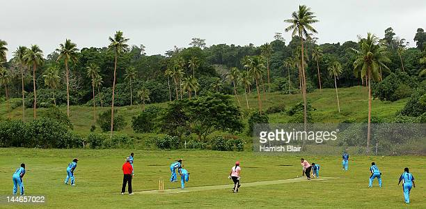 A general view of play during the 5th v 6th match between Fiji and Cook Islands played at Club Hippique during the ICC East Asia Pacific Women's...
