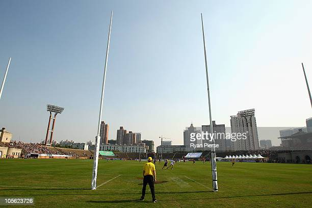 A general view of play during the AFL Kaspersky Cup Shanghai Showdown match between the Brisbane Lions and the Melbourne Demons at Jiangwan Sports...