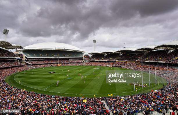 General view of play during the AFLW Grand Final match between the Adelaide Crows and the Carlton Blues at Adelaide Oval on March 31, 2019 in...