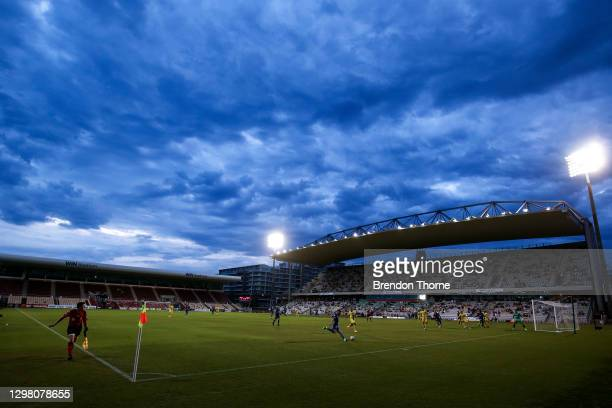 General view of play during the A-League match between the the Wellington Phoenix and the Newcastle Jets at WIN Stadium, on January 24 in Wollongong,...
