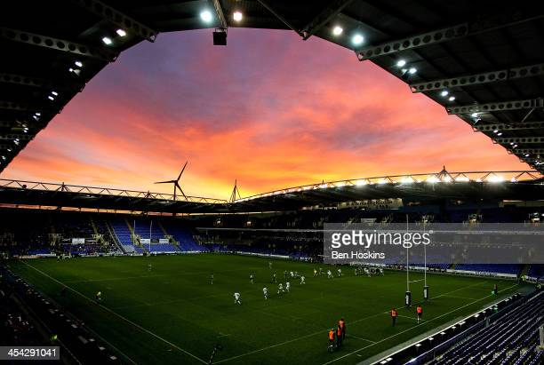 A general view of play during the Amlin Challenge Cup match between London Irish and Stade Francais Paris at Madejski Stadium on December 8 2013 in...