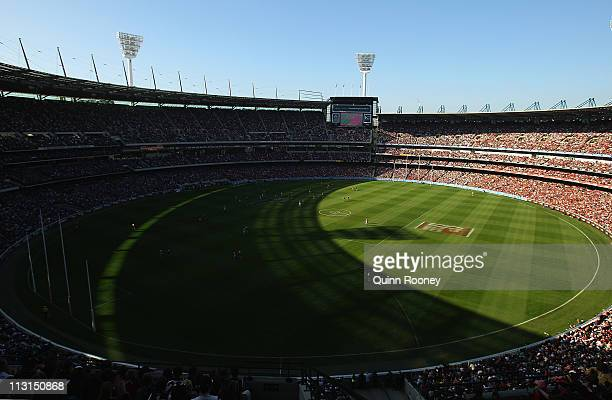 A general view of play during the ANZAC Day round five AFL match between the Essendon Bombers and the Collingwood Magpies at the Melbourne Cricket...