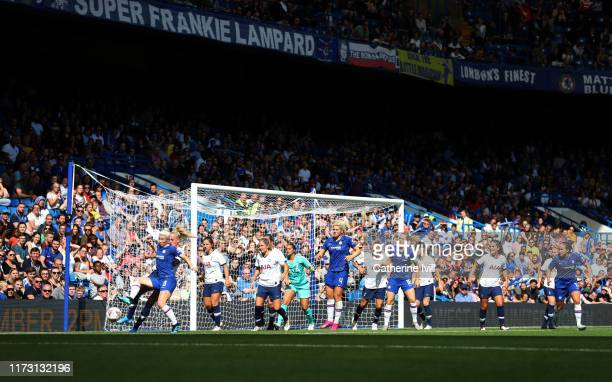 General view of play during the Barclays FA Women's Super League match between Chelsea and Tottenham Hotspur at Stamford Bridge on September 08 2019...