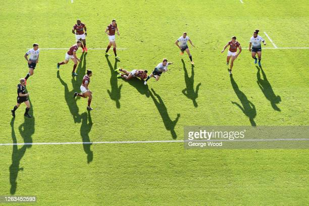 General view of play during the Betfred Super League match between Huddersfield Giants and Leeds Rhinos at Emerald Headingley Stadium on August 02,...