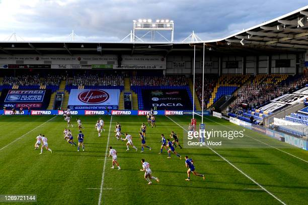 General view of play during the Betfred Super League match between Warrington Wolves and Wakefield Trinity at The Halliwell Jones Stadium on August...