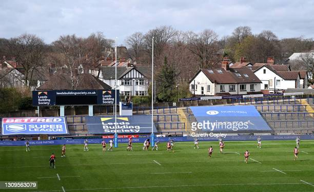 General view of play during the Betfred Super League match between Hull FC and Huddersfield Giants at Emerald Headingley Stadium on March 28, 2021 in...