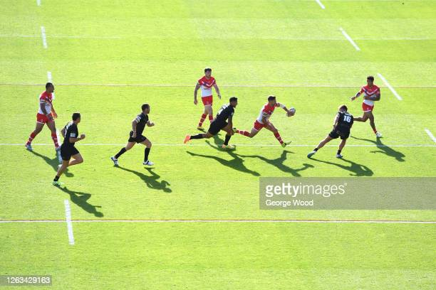 General view of play during the Betfred Super League match between St Helens and Catalans Dragons at Emerald Headingley Stadium on August 02, 2020 in...
