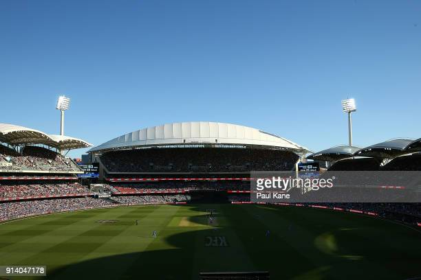 A general view of play during the Big Bash League Final match between the Adelaide Strikers and the Hobart Hurricanes at Adelaide Oval on February 4...