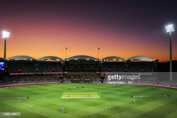 General view of play during the Big Bash League match between the Adelaide Strikers and the Melbourne Renegades at Adelaide Oval, on January 08 in...