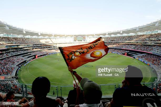 General view of play during the Big Bash League match between the Perth Scorchers and the Hobart Hurricanes at Optus Stadium, on January 12 in Perth,...