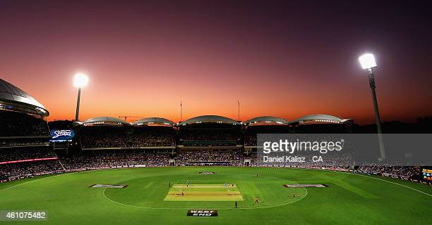 A general view of play during the Big Bash League match between the Adelaide Strikers and the Perth Scorchers at Adelaide Oval on January 6 2015 in...