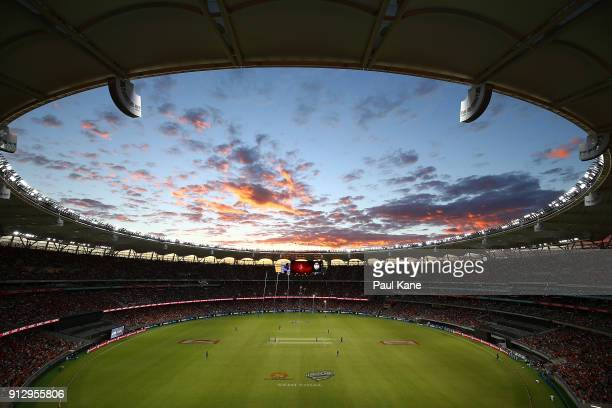 A general view of play during the Big Bash League Semi Final match between the Perth Scorchers and the Hobart Hurricanes at Optus Stadium on February...