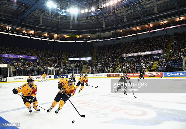 A general view of play during the Champions Hockey League group stage game between Nottingham Panthers and Lukko Rauma on August 22 2014 in...