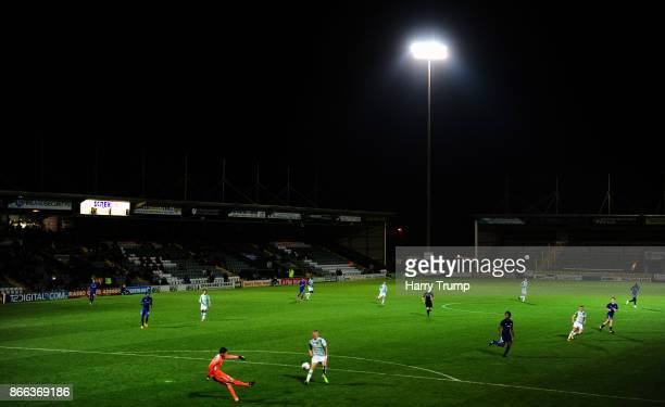 General view of play during the Checkatrade Trophy match between Yeovil Town and Chelsea U21 at Huish Park on October 25 2017 in Yeovil England