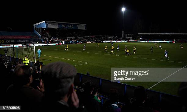 General view of play during The Emirates FA Cup Second Round match between Macclesfield Town and Oxford United at Moss Rose Ground on December 2,...
