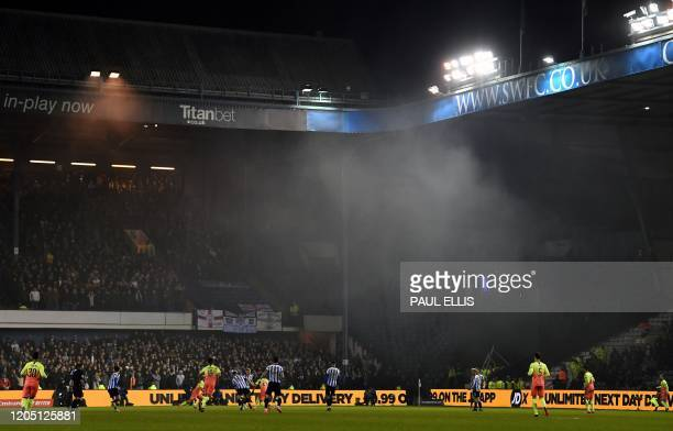 A general view of play during the English FA Cup fifth round football match between Sheffield Wednesday and Manchester City at The Hillsborough...