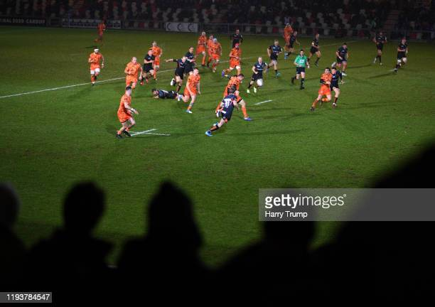 General view of play during the European Rugby Challenge Cup Round 4 match between Dragons Rugby and Worcester Warriors at Rodney Parade on December...