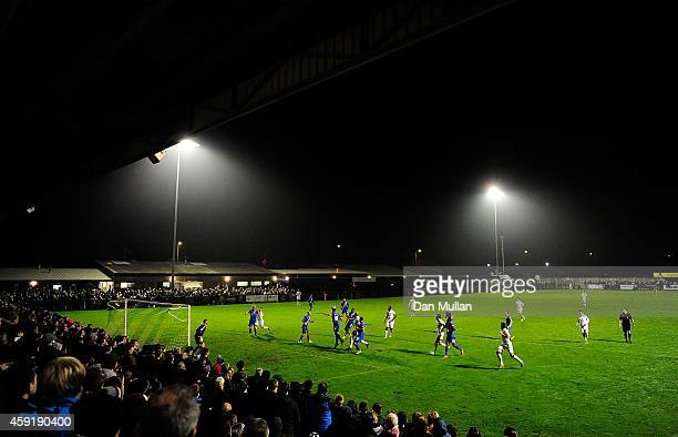 A general view of play during the FA Cup First Round match between WestonSuperMare and Doncaster Rovers on November 18 2014 in WestonSuperMare England