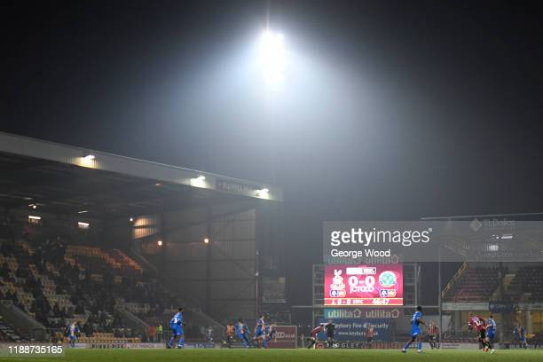 A general view of play during the FA Cup First Round Replay match between Bradford City and Shrewsbury Town at Coral Windows Stadium Valley Parade on...