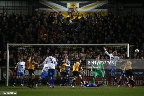 General view of play during the FA Cup Second Round Replay match between Southport and Tranmere Rovers at Haig Avenue on December 17 2018 in...