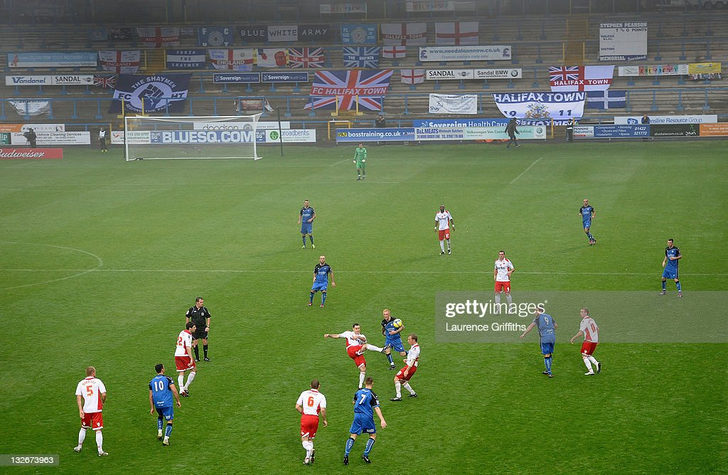 A general view of play during the FA Cup sponsored by Budweiser First Round match between Halifax Town and Charlton Athletic at the Shay on November 13, 2011 in Halifax, England.