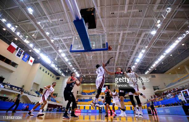 A general view of play during the FIBA Basketball World Cup 2019 Asian Qualifier between Qatar and Japan at Al Gharrafa Sport Complex on February 24...