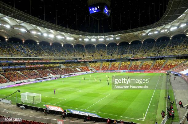 General view of play during the FIFA World Cup 2022 Qatar qualifying match between Romania and Germany at the National Arena on March 28, 2021 in...