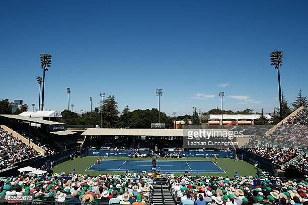 A general view of play during the final between Angelique Kerber of Germany and Karlina Plivkova of the Czech Republic on during day seven of the...