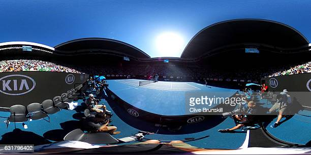 General view of play during the first round match between Andy Murray of Great Britain and Illya Marchenko of the Ukraine on day one of the 2017...