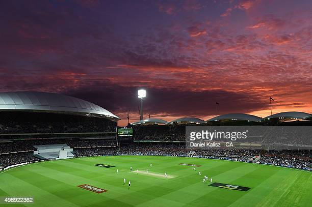 General view of play during the firt sunset of a day/night test match during day one of the Third Test match between Australia and New Zealand at...