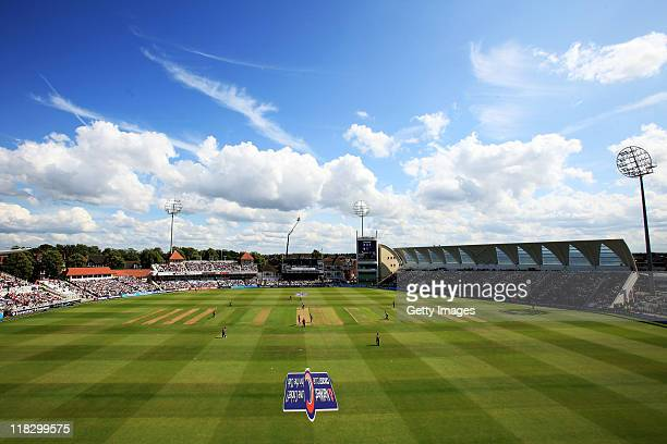 A general view of play during the fourth Natwest One Day International between England and Sri Lanka at Trent Bridge on July 6 2011 in Nottingham...