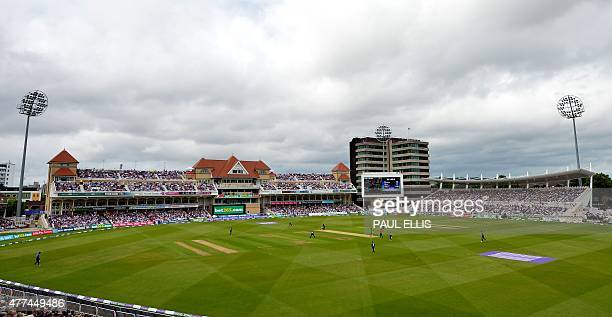 General view of play during the fourth one day international cricket match between England and New Zealand at Trent Bridge cricket ground in...