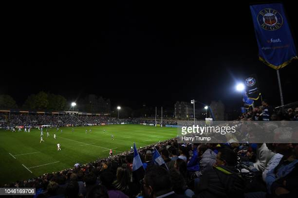General view of play during the Gallagher Premiership Rugby match between Bath Rugby and Exeter Chiefs at the Recreation Ground on October 5, 2018 in...