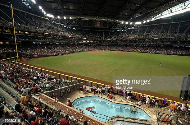 General view of play during the game between the Arizona Diamondbacks and the Los Angeles Angels of Anaheim at Chase Field on June 17, 2015 in...