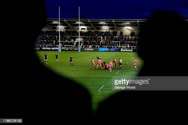 General view of play during the Greene King IPA Championship match between Newcastle Falcons and Coventry at Kingston Park on November 17, 2019 in...