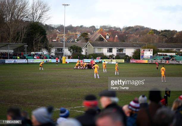 General view of play during the Greene King IPA Championship match between Cornish Pirates and Yorkshire Carnegie at Mennaye Field on January 12,...