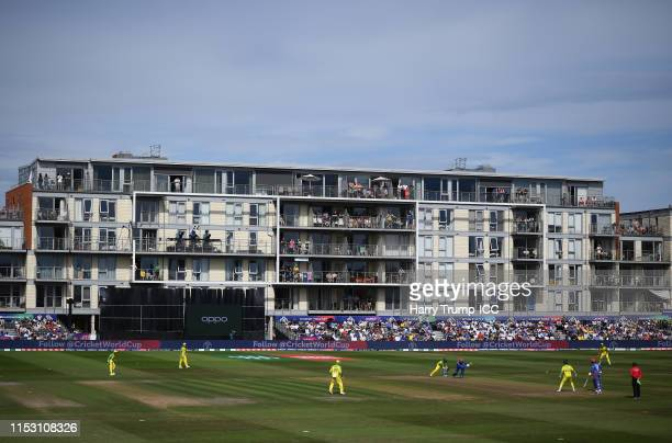 General view of play during the Group Stage match of the ICC Cricket World Cup 2019 between Afghanistan and Australia at Bristol County Ground on...