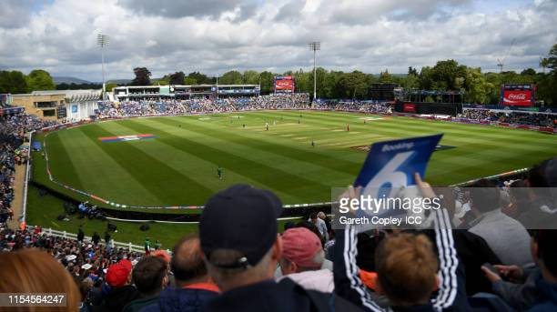 General view of play during the Group Stage match of the ICC Cricket World Cup 2019 between England and Bangladesh at Cardiff Wales Stadium on June...