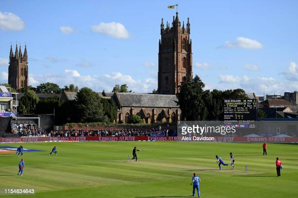 A general view of play during the Group Stage match of the ICC Cricket World Cup 2019 between Afghanistan and New Zealand at The County Ground on...