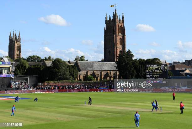 General view of play during the Group Stage match of the ICC Cricket World Cup 2019 between Afghanistan and New Zealand at The County Ground on June...