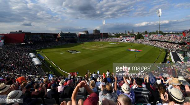 General view of play during the Group Stage match of the ICC Cricket World Cup 2019 between West Indies and New Zealand at Old Trafford on June 22...