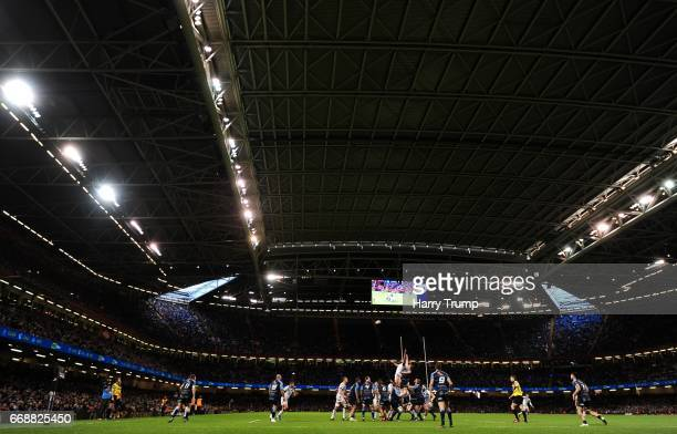 General view of play during the Guinness Pro12 match between Cardiff Blues and Ospreys at the Principality Stadium on April 15 2017 in Cardiff Wales