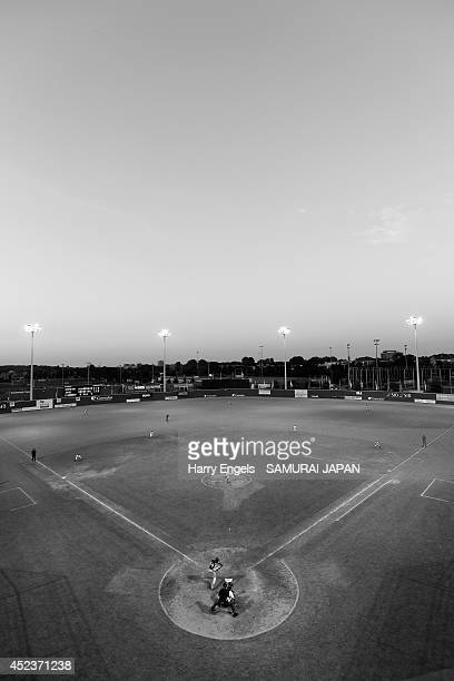 A general view of play during the Haarlem Baseball Week match between Japan and the Netherlands at Pim Mullier Stadion on July 18 2014 in Haarlem...