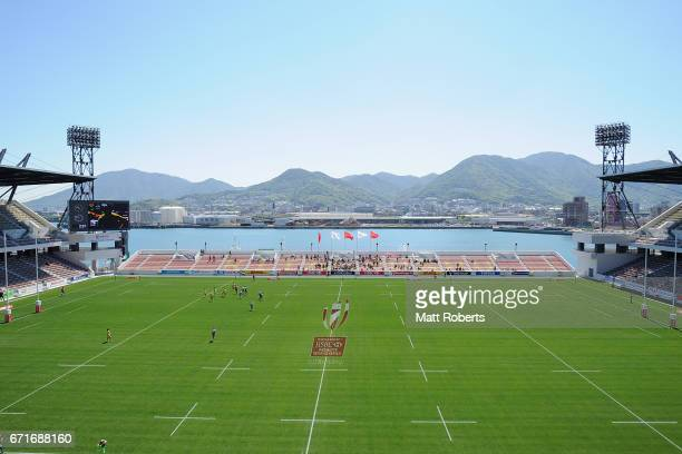 A general view of play during the HSBC World Rugby Women's Sevens Series 2016/17 Kitakyushu quarter final between Australia and France at Kitakyushu...